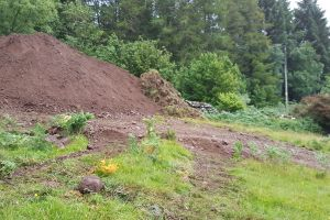 Topsoil set aside until later - will be used as soil for the green roof