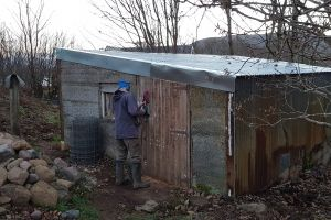 Mike sanding the door to the former cow byre. A useful storage space, it doubles as the site office/tea room