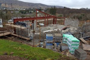 With the beam and block floor in place at the start of April, work can begin in earnest on the construction of the upper walls