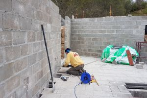 As the electrician on this build, every completed wall means another channelling out job for Mike