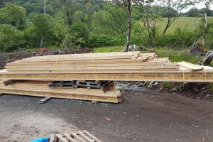 The arrival of the roof timbers at the start of June signalled the start of the longed-for process of getting the house water-tight