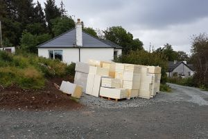 A large delivery of roof insulation has arrived.