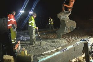 It's November now, with fewer daylight hours, so the concrete pour has to continue after dark
