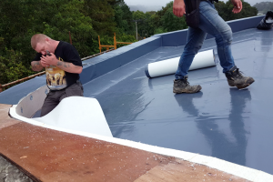 After installing the insulation, the 'upstand' is insulated with a thinner layer of flexible insulation (white) and then the final layer of Alvitra roofing membrane (grey) is applied. The membrane laps up the sides and over the top of the 'upstand' to help keep water out of the cavities.